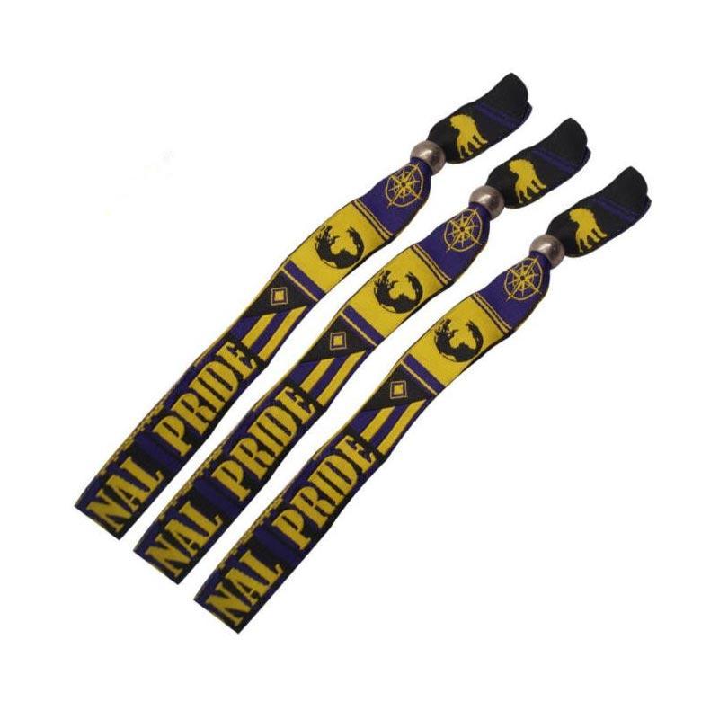 Custom Personalised Festival Comfortable Textile Woven Bracelets Fabric Wristband