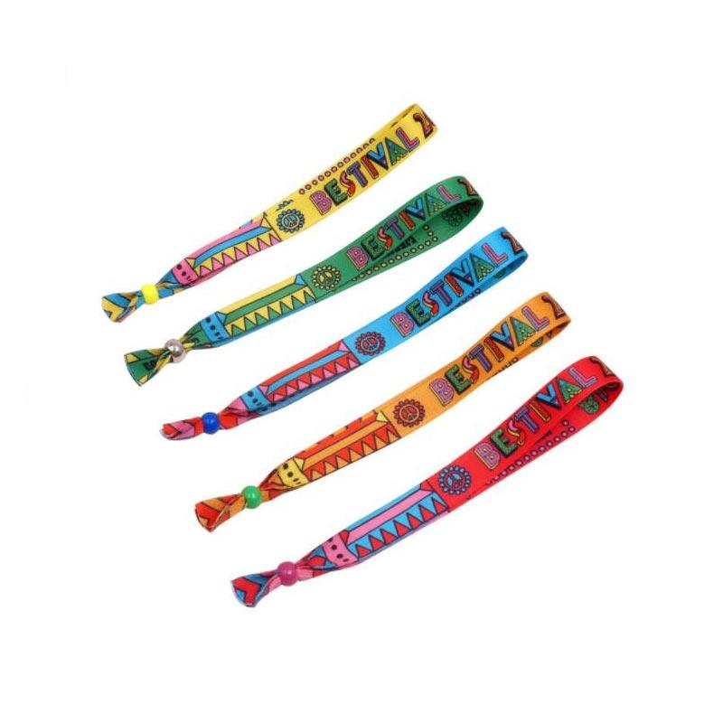 Custom Personalised Festival Comfortable Textile Woven Bracelets Fabric Wristband