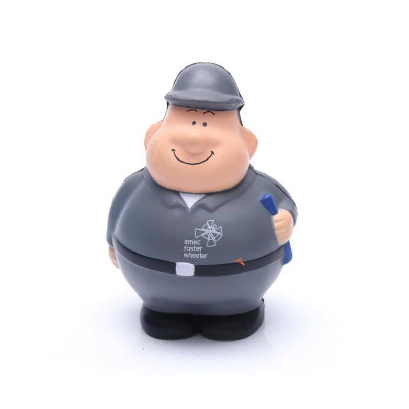 PU Stress Worker toy with logo printing