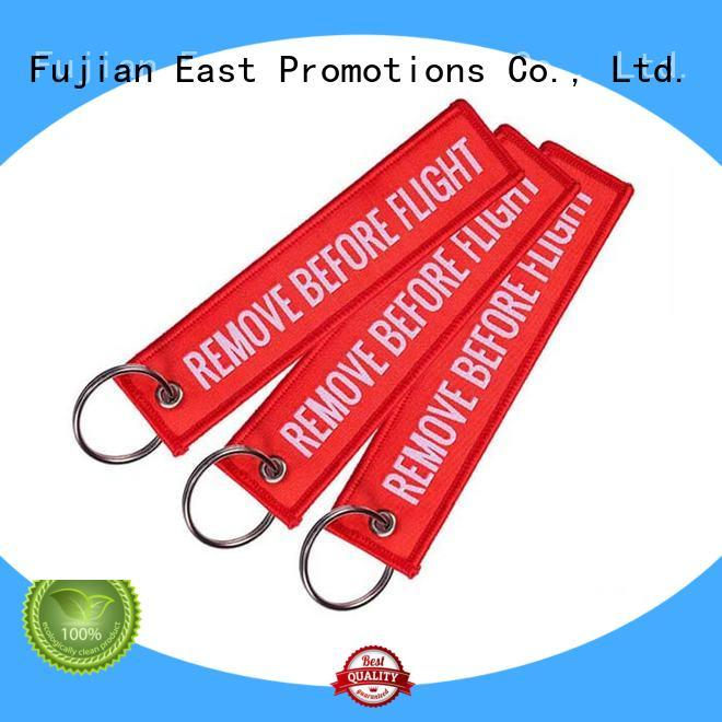East Promotions hot-sale custom fabric keychains gold metal for gift