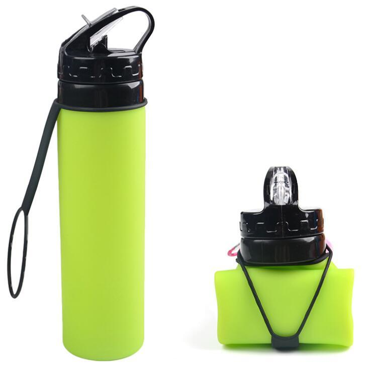 600ml BPA Free Sports Foldable Silicone Water Bottle for Travel