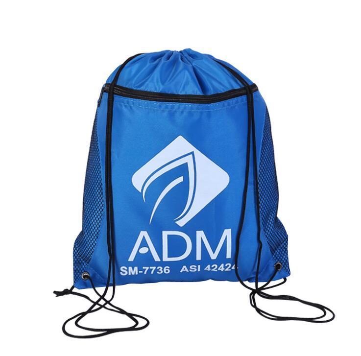 High Quality Durable Mesh Pocket Zipper Polyester Drawstring Bag