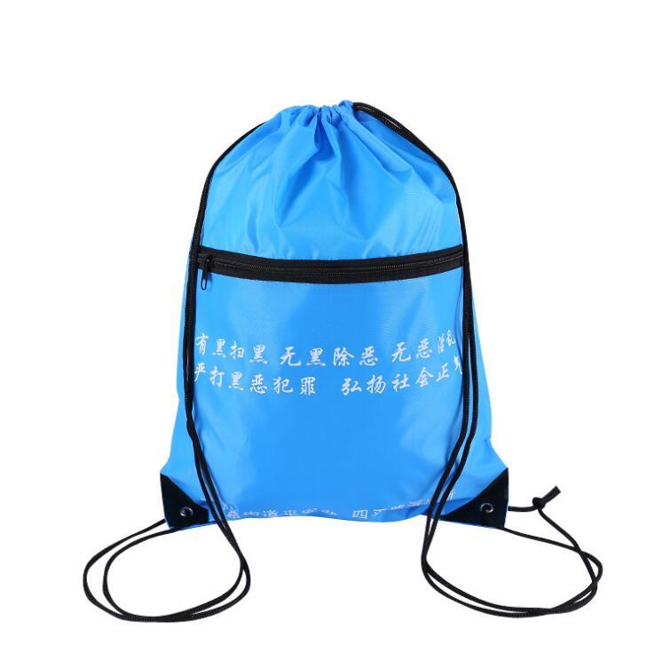 Wholesale Custom Cheap Promotional Drawstring Bag with Zipper Pocket