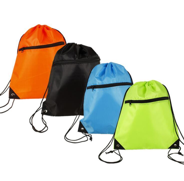 Polyester Drawstring Backpack Bag with Front Zipper Pocket