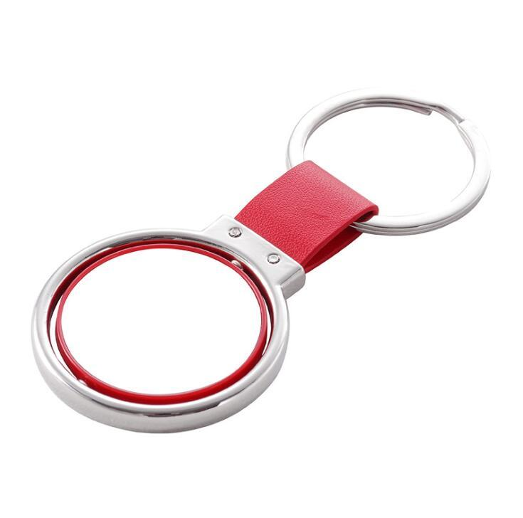Promotion Gift Rotate Metal Keyring PU Leather Keychain