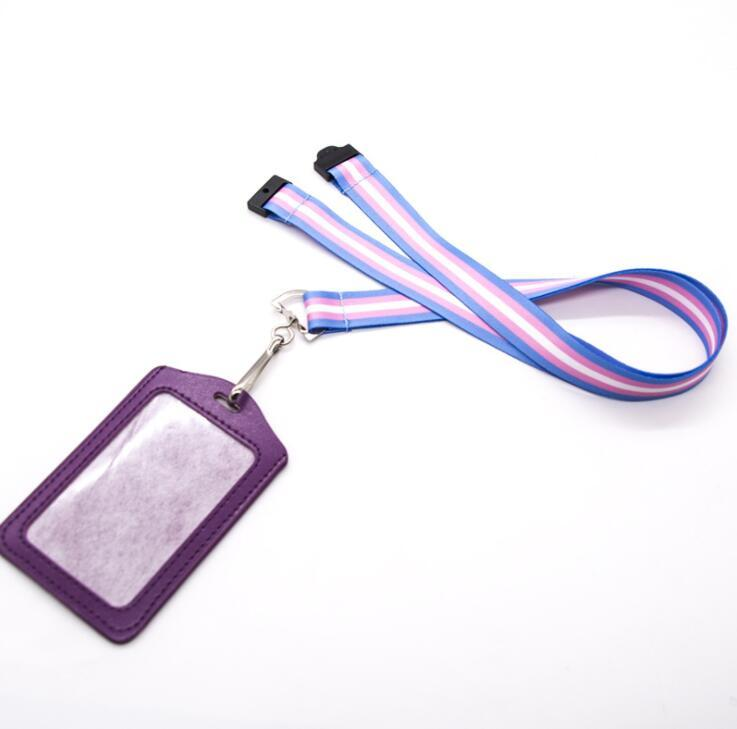 Custom Lanyard for Staff with PU leather Card Holder