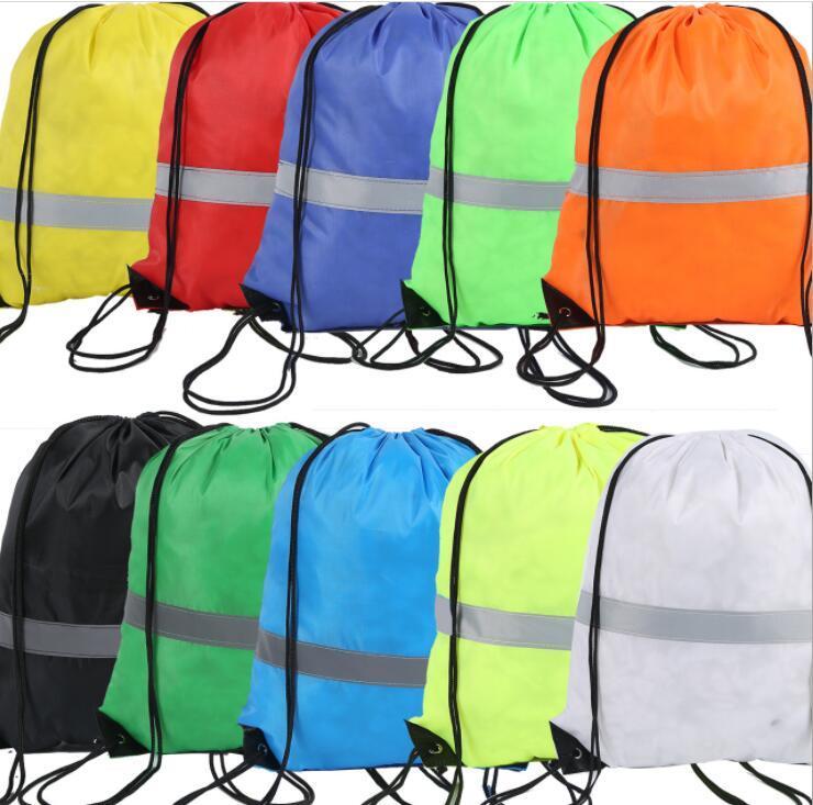 Custom Drawstring Backpack Student School Bag with Reflective Stripe