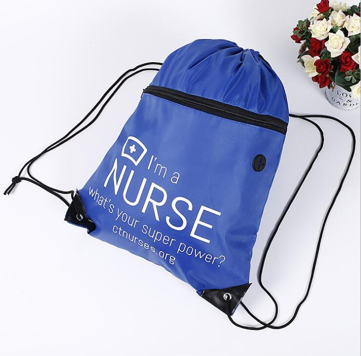 Polyester Drawstrings Bag with Front Zipper Pocket