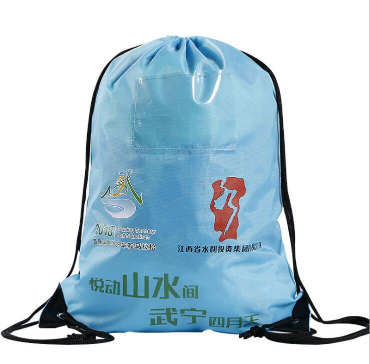 Customized Logo Printed Nylon Drawstring Backpack Bags with PVC card holder