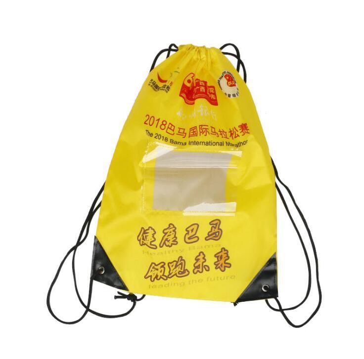 Factory Custom Marathon Sport Polyester Drawstring Bag with PVC Card Holder