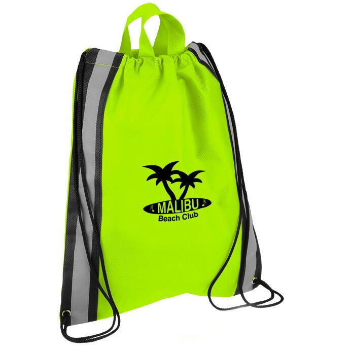 Reusable Eco-Friendly Drawstring Shopping Bag with Reflective Band