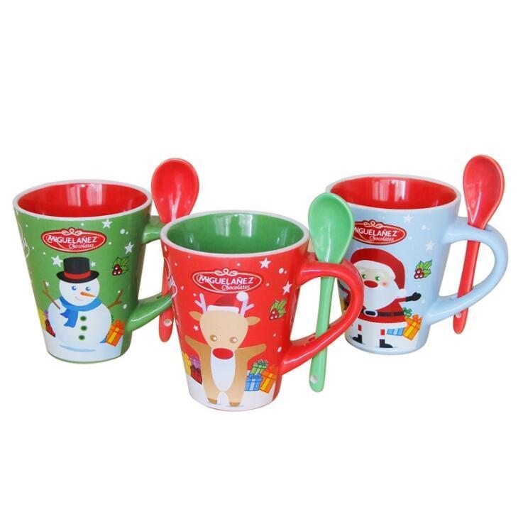 Promotional Customized Decal Ceramic Stoneware Christmas Mug With Spoon