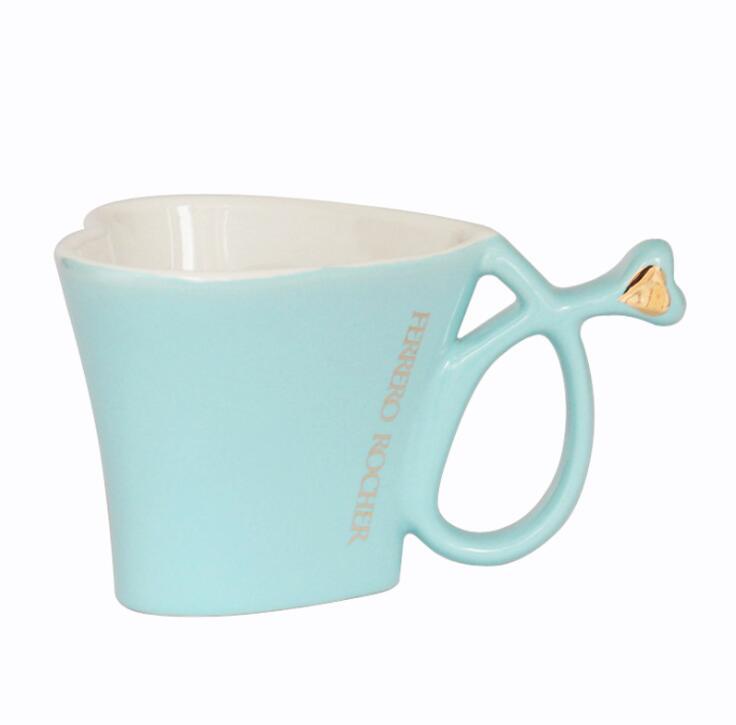 Heart Shape Ceramic Mug with Decal Printed, Promotional Ceramic Mug
