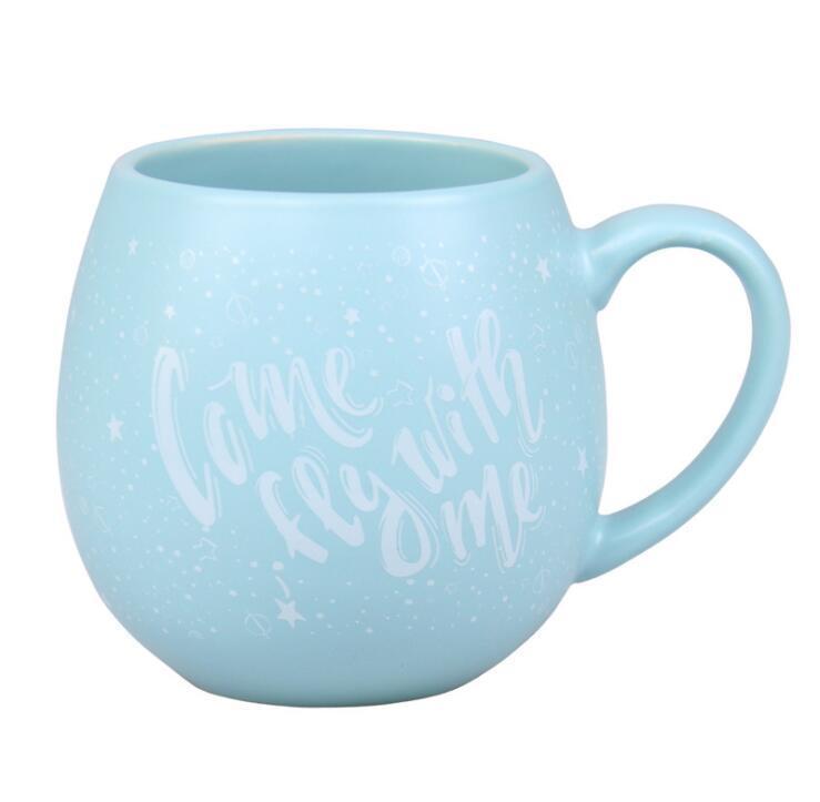 14 Oz Inner Color Glazed Ball Shaped White Ceramic Coffee Mug
