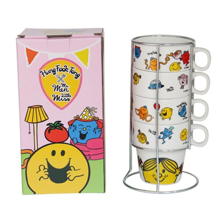 Sublimation 4 Piece 6oz Stackable Ceramic Coffee Mug Set