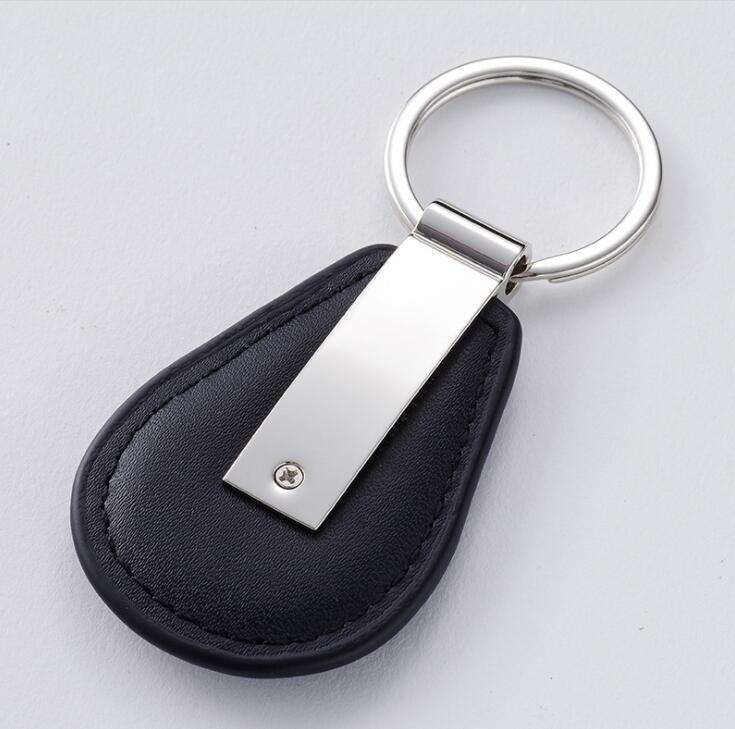 Customized Black PU Leather Car Keychain with Low Price