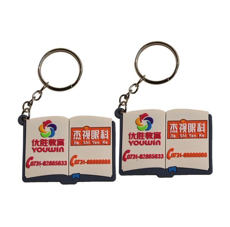 Book Shape Rubber Keyring, Plastic Keychain with Logo custom