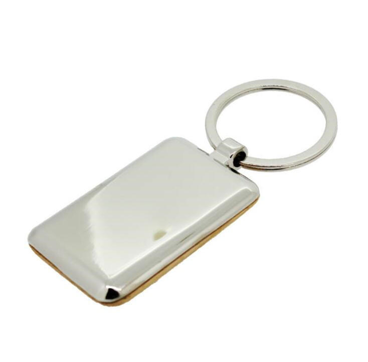 Wholesale Rectangle Wooden Metal Keychain with High Quality