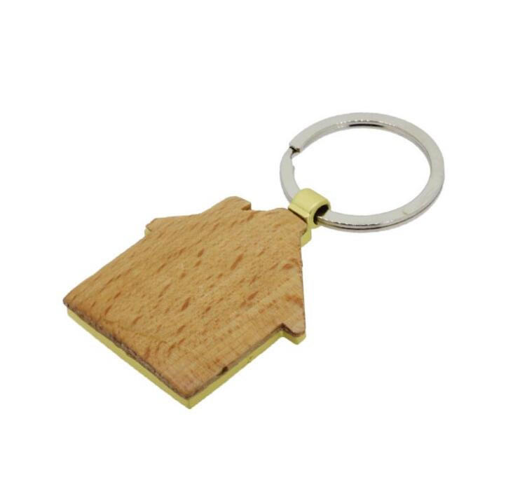 House Shape Wooden Metal Keychain With Logo