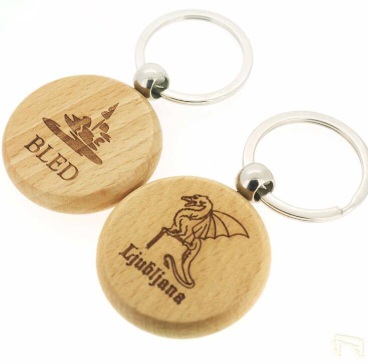 Customized High-Quality Round Wood Key Chain with Metal Keyring