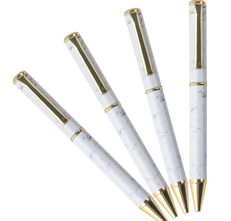 White Marbling Body Metal Pen With Golden Pen Clip