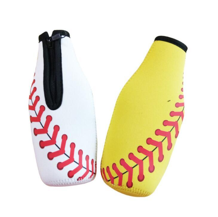 Neoprene Baseball Design Insulated Beverage Beer Bottle Cooler