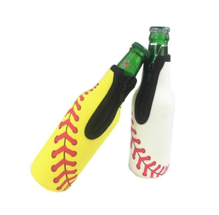 Neoprene Baseball Design Insulated Beverage Beer Bottle Cooler