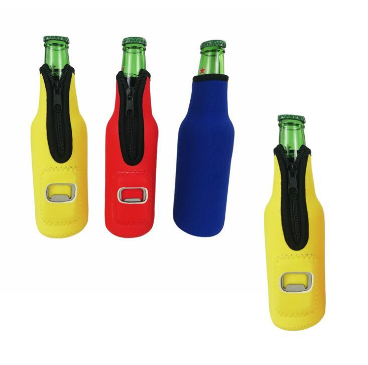 Factory Supply Neoprene Beer Bottle Cooler with Bottle Opener