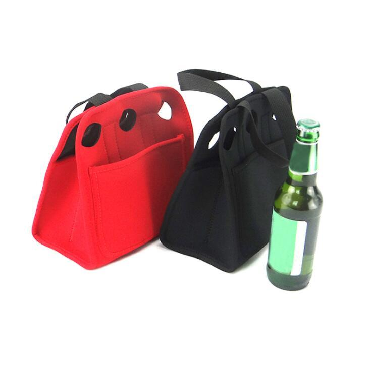 Custom 6 Pack Insulated Neoprene Beer Bottle Cooler Bag With Handle
