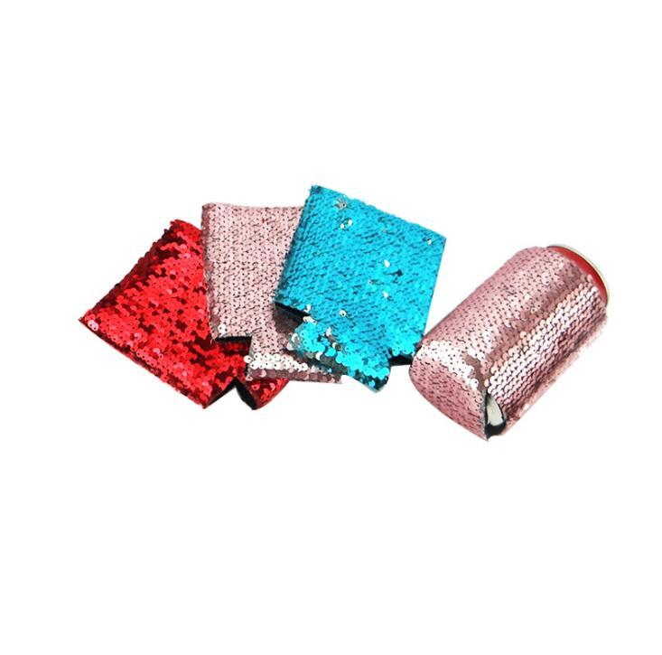Cheap Promotional 330ml Neoprene Can Cooler With Sequins