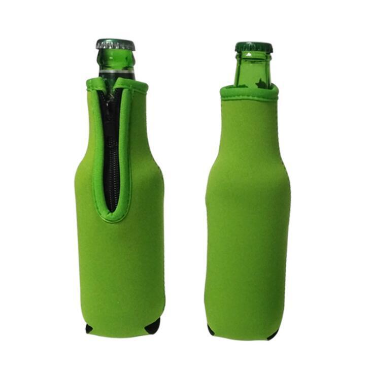 Neoprene Insulated Beer Beverage Drink Bottle Sleeves With Zipper