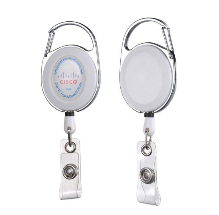 Custom Logo Printing Metal Frame ABS ID Badge Holder Retractable Pull Badge Reel