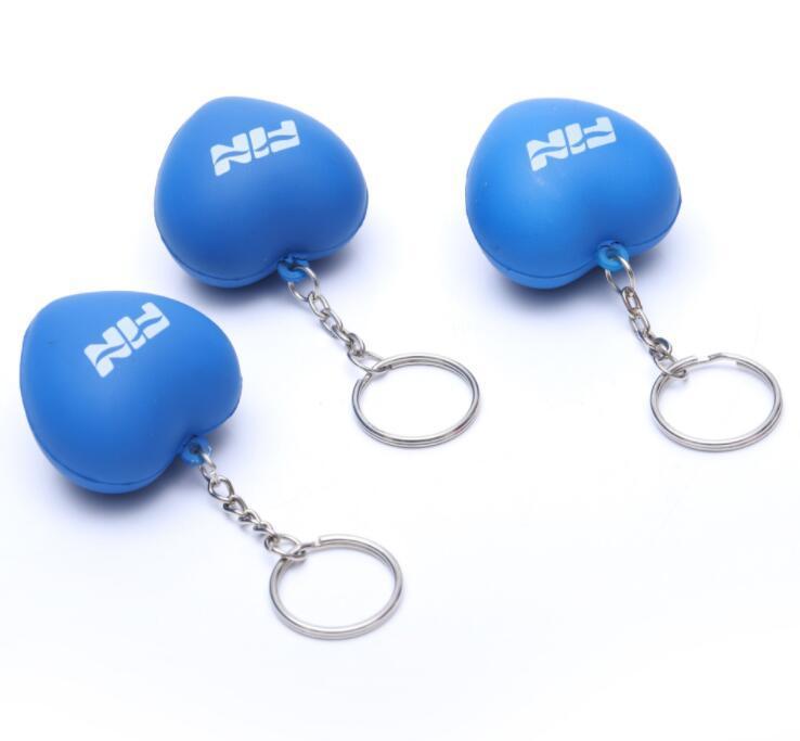 Eco-friendly Pu Stress Ball Heart Shape With Keyring