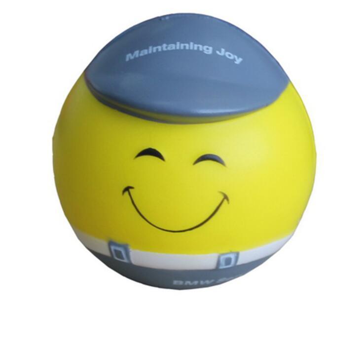 Promotional Custom Logo Printing Smiling Face PU Anti Stress Ball