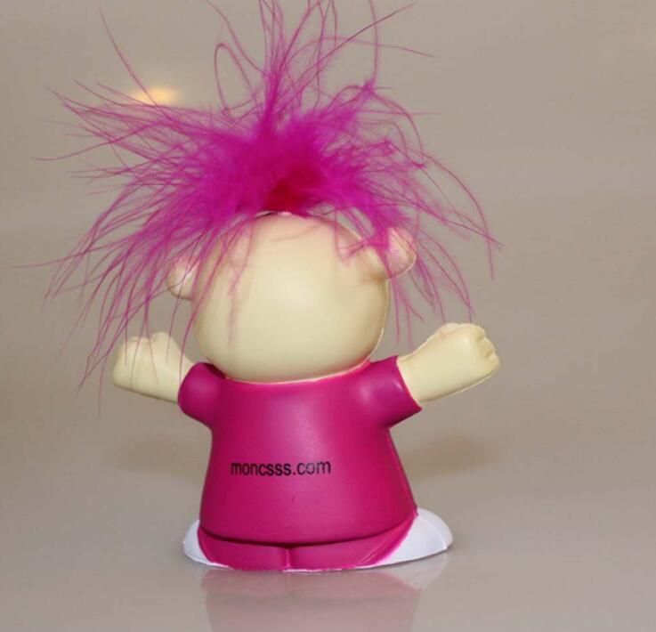 Custom Cartoon Red Hair Girl Pu Anti-Stress Toy with Logo