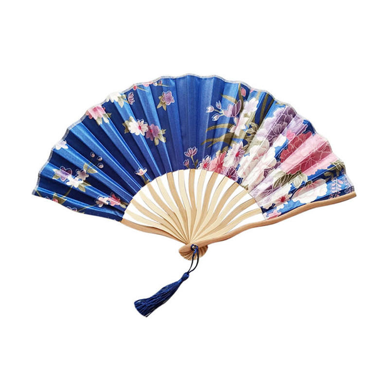 Polyester Fabric Bamboo Folding Hand Fan With Pendant
