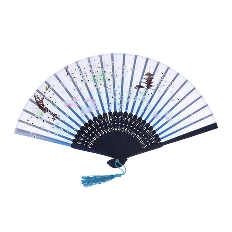 Customized Bamboo Hand Fan With Full Color Printing Logo