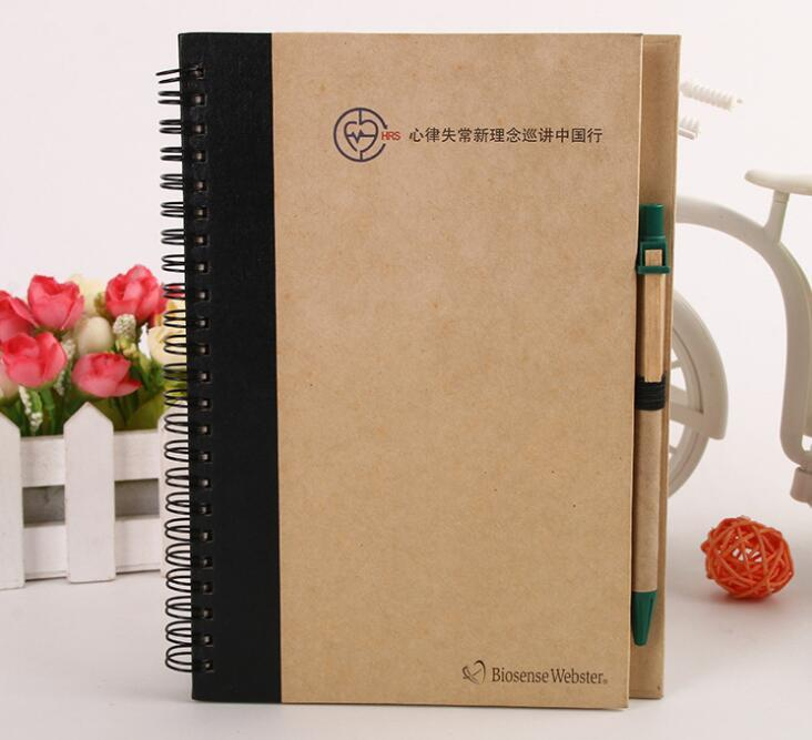Eco-friendly Promotion Spiral Notebook with Ball pen for School