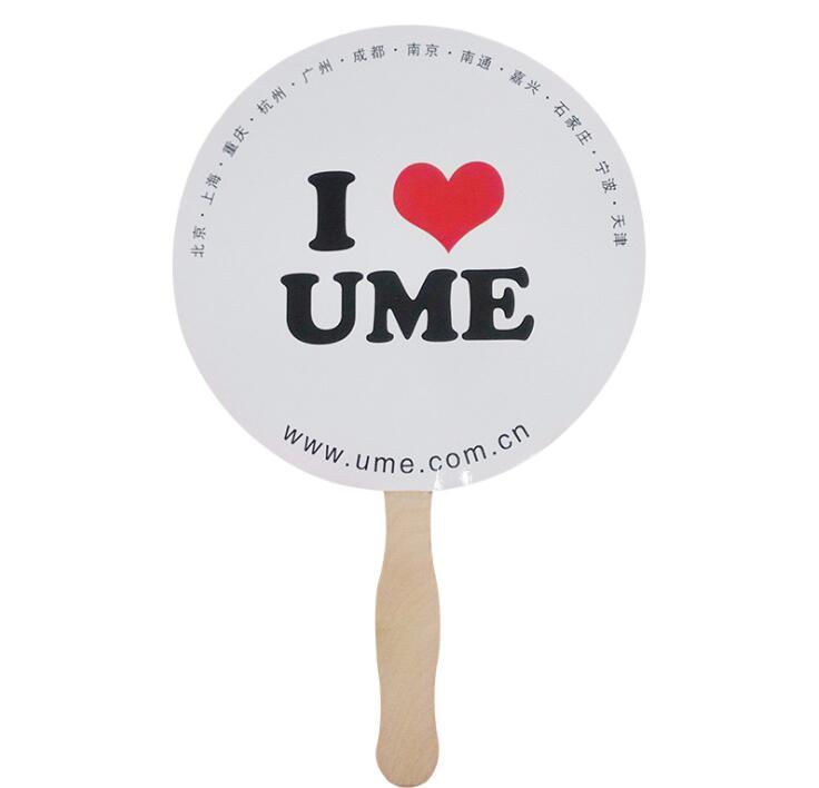 Custom Brand Advertising Paper Hand Fan with Wooden Handle