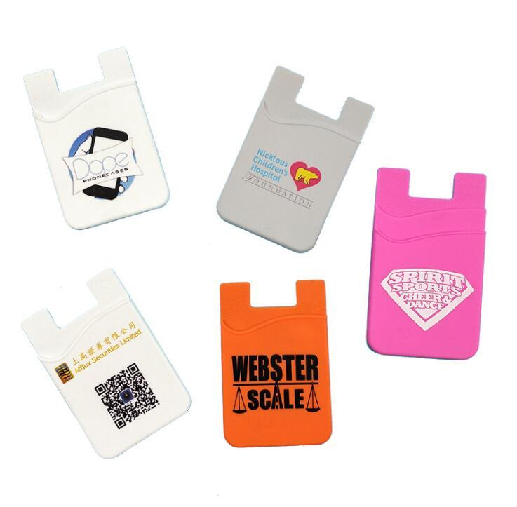 Wholesale Customized Logo 3m Adhesive Sticker Silicone Credit Card Holder