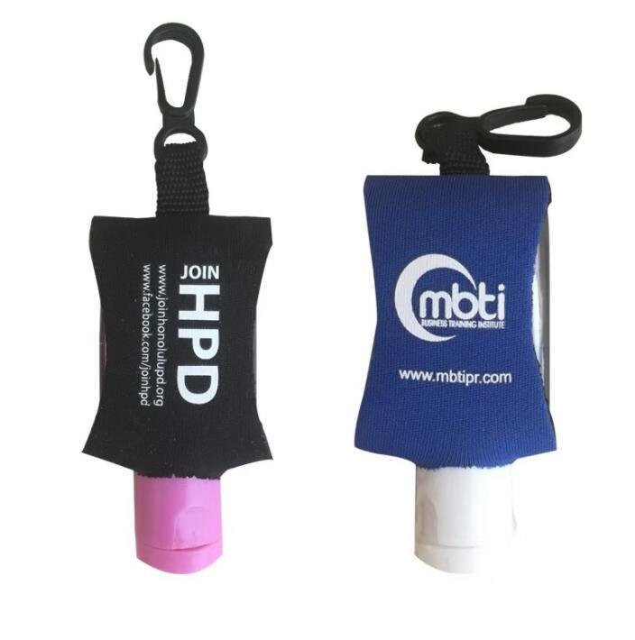 custom printed minni hand sanitizer with Neoprene holder