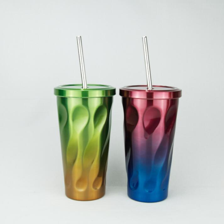 Stainless Steel Tumbler and Straw insulated cup with straw coffee travel mug