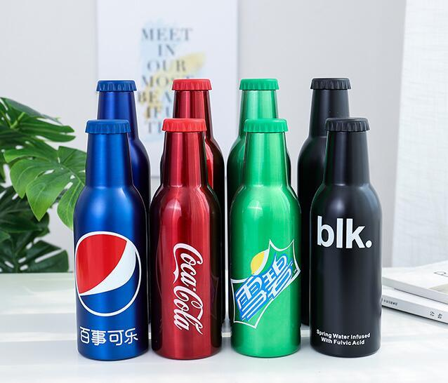 Creative Sprite Coke Bottle Stainless Steel Vacuum Flask Water Cup 450ml Cool Outdoor Portable Travel Mug Water Bottle
