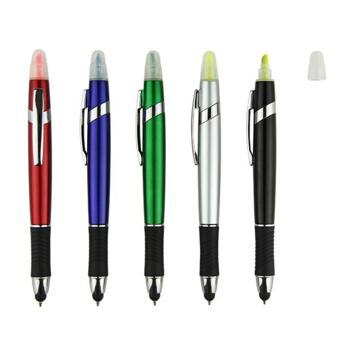 Customized Cheap Plastic Highlighter Ball Pen for School