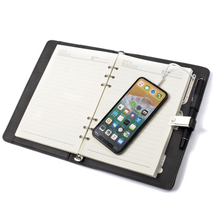 Portable 8000mAh Mobile Phone Power Bank PU Leather Notebook