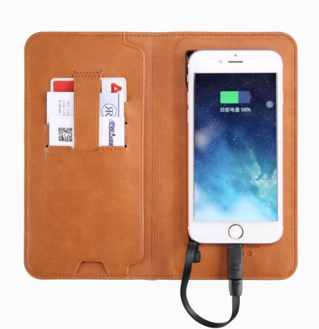 Customized PU Wireless Charging Wallet with Mobile Power Bank