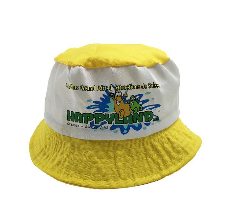 Customized Kids Cotton Bucket Hat Fishing Cap Outdoor Sun Hat with Logo Embroidered