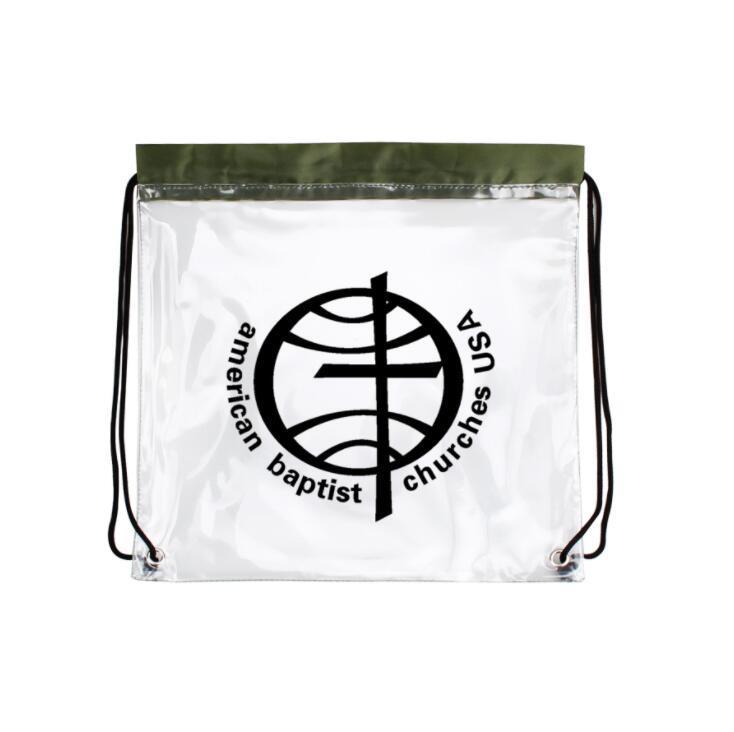 Custom Waterproof PVC Clear Drawstring Backpack Bag with Logo Printed