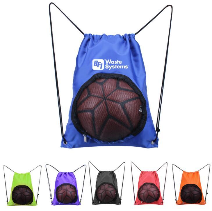 Custom Basketball Drawstring Bag Sport Ball Backpack with Mesh for Gym