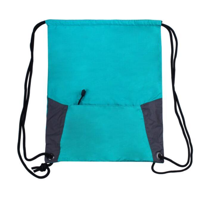 210D Nylon foldable drawstring bag with Pouch